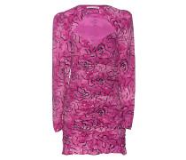 Gemustertes Mini-Kleid mit Raffungen