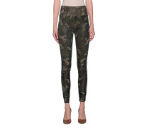 Leder-Leggings im Camouflage-Design
