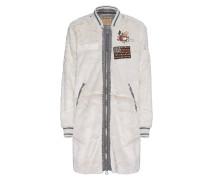 Lange Bomber-Jacke aus Fake Fur