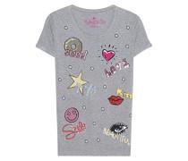 Bedrucktes T-Shirt mit Verzierungen