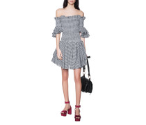 Kariertes Off-Shoulder-Kleid