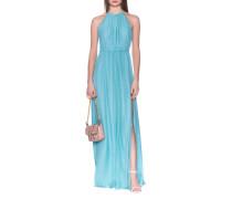 Neckholder-Seiden-Kleid