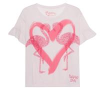 T-Shirt mit Pailletten-Flamingos