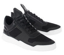 Leder-Sneaker mit Mesh-Einsätzen