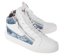 Leder-Sneaker mit Samt-Elementen