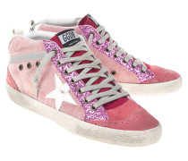 Leder-Sneaker mit Glitzer