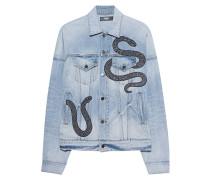 Jeansjacke mit Schlangen-Motiv