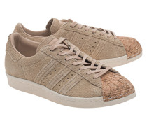 Leder-Sneakers mit Kork-Spitze