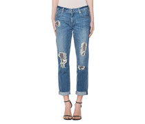 Boyfriend-Jeans mit Pailletten-Details