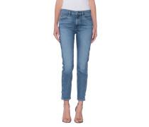 Skinny-Jeans mit fransigen Beinsäumen