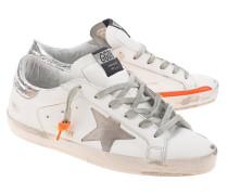 Leder-Sneaker mit Neon-Details