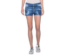 Jeans-Shorts mit Farbklecksen