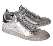 Silberne Leder-Sneaker