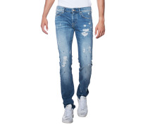 Slim Fit Jeans mit Destroyed-Effekten