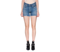 High Waist Jeansshorts mit Patches