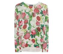 Floraler Pullover mit Glitzer-Streifen