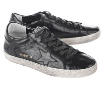 Glattleder-Sneaker in Kroko-Optik