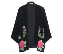 Bestickter Kimono in Samt-Optik