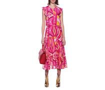 Gemustertes Midi-Kleid mit Rüschen-Details
