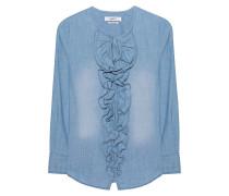 Denim-Bluse mit Rüschen