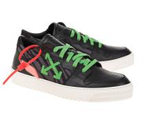 Leder-Sneaker mit Textil Besatz