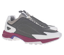 Leder-Sneaker mit Mesh-Details
