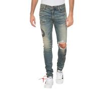 Destroyed Jeans mit Schlangen-Motiv