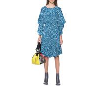 Gemustertes Seiden-Mix Kleid mit Taillenzug