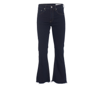 Flare-Jeans mit gefranstem Saum