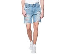 Destroyed-Look Denim Shorts