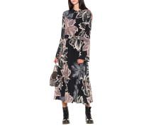 Langes Seiden-Kleid mit Blumenmuster