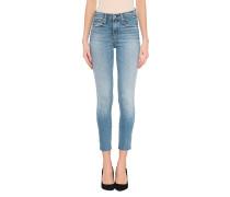 High Waist Skinny Jeans mit offenem Saum
