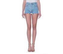 Jeans-Shorts mit Pompom-Saum