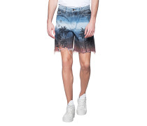Jeans-Shorts mit Palmen-Motiv