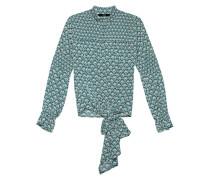 Gemusterte Bluse mit Schleife