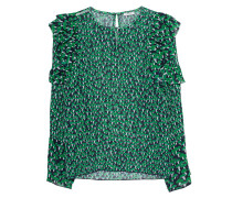 Gemusterte Seiden-Bluse mit Volants
