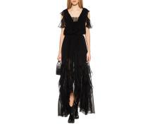 Seiden-Kleid mit Rüschen
