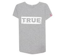 Meliertes T-Shirt mit Logo Print