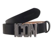 Ledergürtel mit Icon Schriftzug