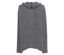 Langer Woll-Cardigan mit Kapuze
