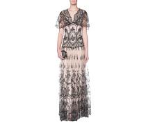 Tailliertes Maxi-Kleid aus Spitze
