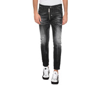 Destroyed Slim-Fit Jeans mit Zipper