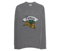 Wollpullover mit Tiger Motiv