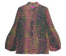 Mehrfarbige Bluse im Leoparden-Design