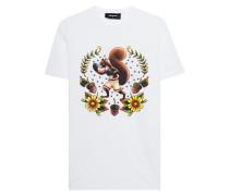 Baumwoll-T-Shirt mit Print  // Squirrel White