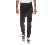 Drop-Crotch Samt-Jogginghose