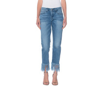 Straight Leg Denim mit Fransensaum
