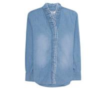 Jeans-Bluse mit Rüschen