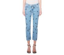 Bedruckte High-Waist Jeans