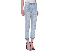 Boyfriend-Jeans mit Schmucksteinen